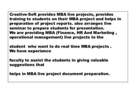 Live Projects For Mba Students In Hyderabad by Mba Operations Management Live Projects