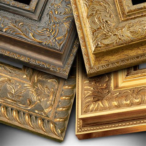 Handcrafted Picture Frames - gold ornate handcrafted wood picture frames