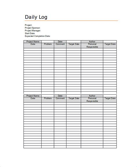 daily work log template daily log templates student daily work log 22 daily log
