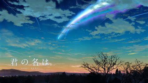 anime kimi no na wa kimi no na wa your name anime sky scenery comet clouds