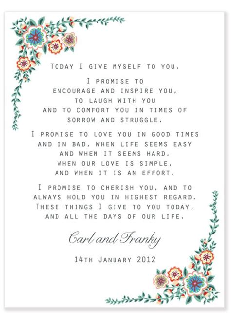 wedding vow template one year on a beginners guide to marriage wedding