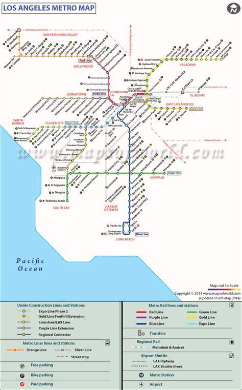 map los angeles lax la metro rail map map metro rail