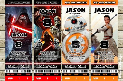 printable star wars movie tickets 40 star wars the force awakens birthday party ideas