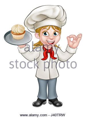 cartoon woman chef or baker holding a silver cloche food