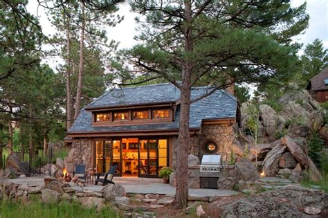 Mountainside House Plans by Stone Cottage Rustic Exterior Denver By Tkp Architects