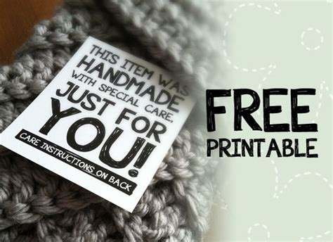 Care Labels For Handmade Items - free craft printable label quot this item was handmade with