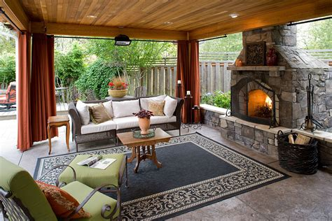 outdoor covered living room fireplace and seating area