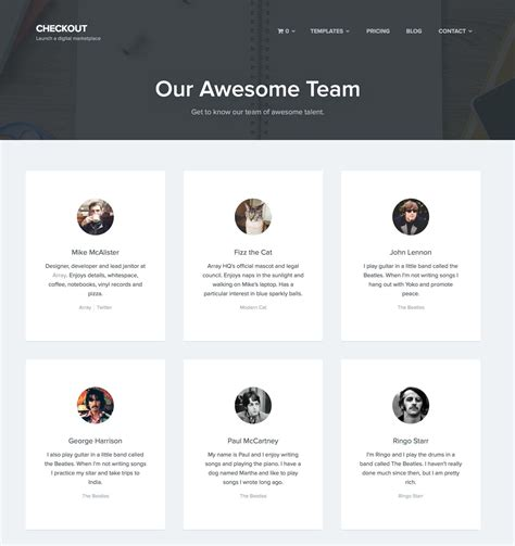 members page template checkout ecommerce theme by arraythemes