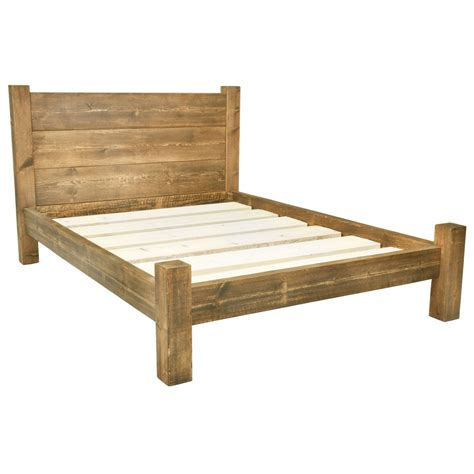wood frame bed solid wooden chunky bed frame in a choice by funkychunkyfurniture