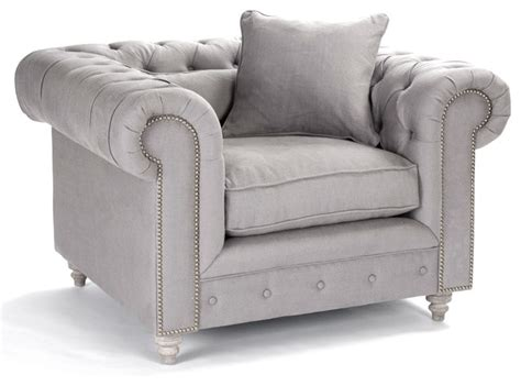 alaine rolled arm gray linen tufted club chair