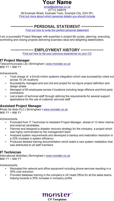cv manager template the it project manager cv template can help you make a