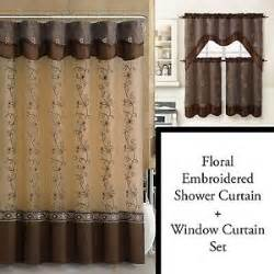 chocolate brown shower curtain and 3pc window curtain set