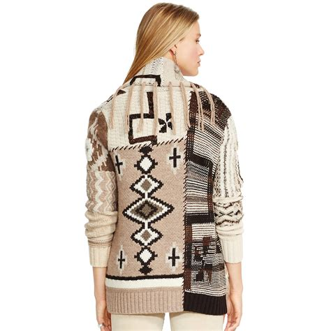 Ralph Patchwork - polo ralph fringed patchwork cardigan in lyst