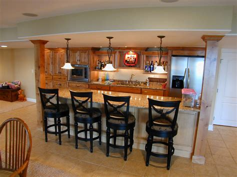 Personable Home Basement Bar Designs Idea Feat Wooden Cabinets Storage And Catchy Tiles