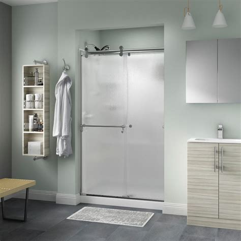 Delta Shower Door Delta Portman 48 In X 71 In Semi Frameless Contemporary Sliding Shower Door In Chrome With