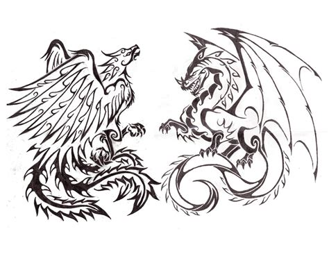 phoenix and dragon tattoo designs combo by saera song on deviantart
