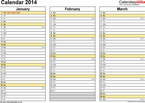 2014 calendar template uk 7 monthly calendar excel template 2014 exceltemplates