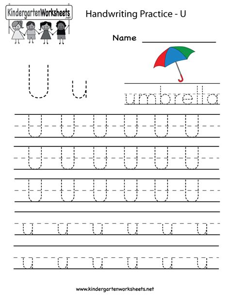 worksheet alphabet u kindergarten letter u writing practice worksheet printable