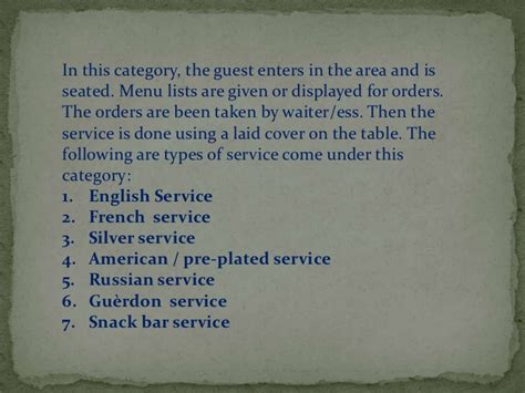 table service definition types of food and beverage services