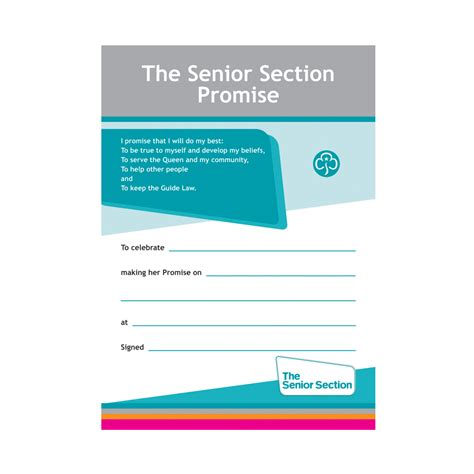 senior section senior section promise certificate adult resources