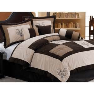 Bed And Bag Comforter Sets Chezmoi Collection 7 Pieces Luxury Brown Beige And Coffee Embroidery Patchwork