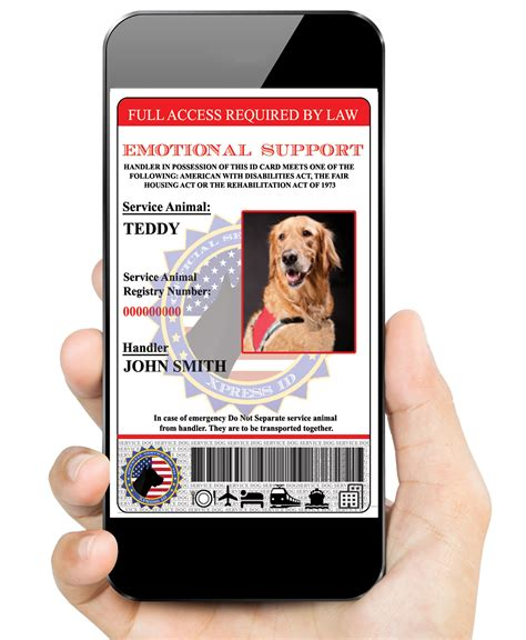 Emotional Support Dog Id Custom Made Digital Version Service Animal Badge Emotional Support Id Template
