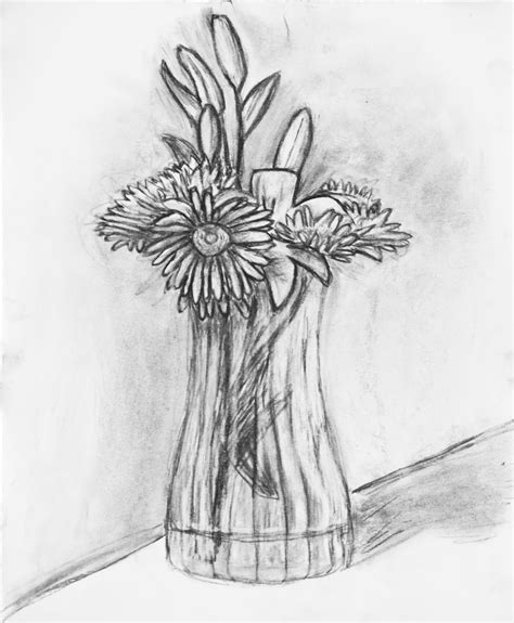 Drawing Of Flowers In Vase by Flower Vase The Sweet Breath Of Zephirus