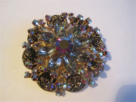 brooch ebay vintage costume jewelry brooch stunning striking ab rhinestone goldtone ebay