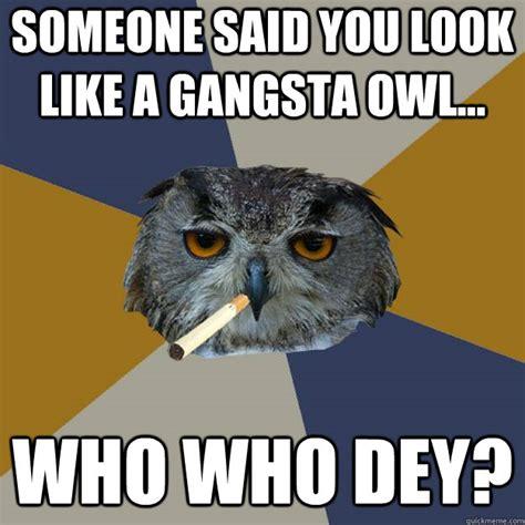 Who Owl Meme - someone said you look like a gangsta owl who who dey