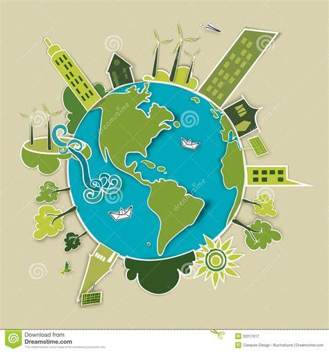 conservation through green building design earth habitat green development concept earth stock vector image 32017617