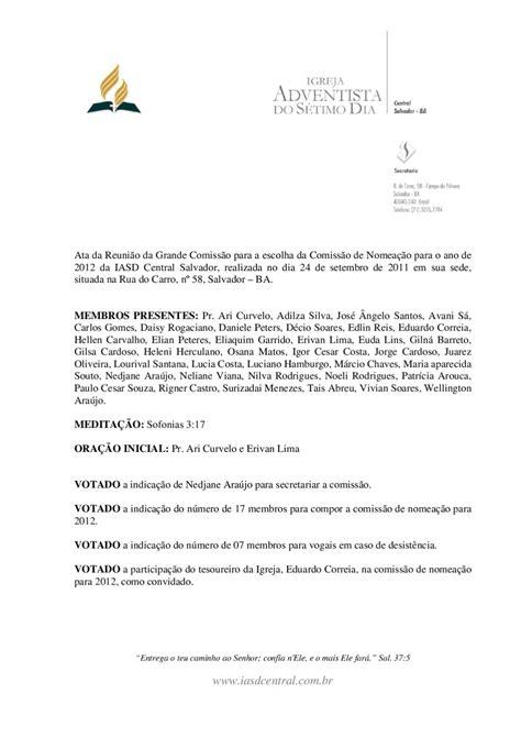 Ata da Grande Comissão de Nomeações 2012 by iasdcentral