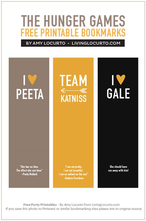 printable hunger games the hunger games bookmarks free printable living locurto