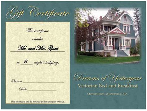 hotel gift certificate template bed and breakfast gift certificate