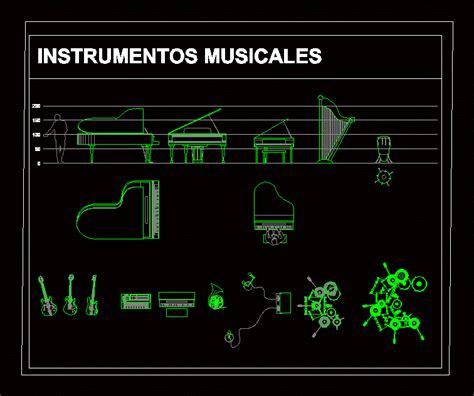 musical instruments dwg elevation  autocad designs cad