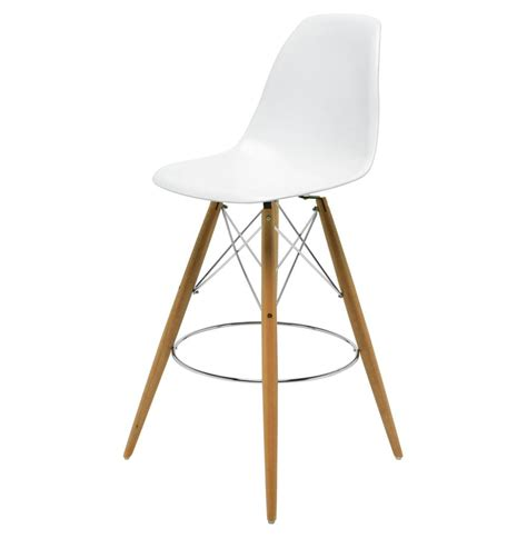 white bar stools eiffel reproduction white plastic oak wood modern counter
