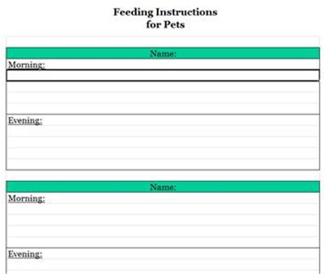 blank chart pet feeding archives running a household