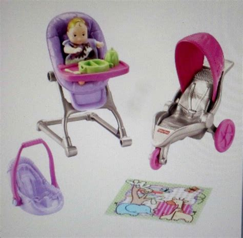 Baby Doll Crib And Highchair Fisher Price Loving Family Nursery Baby Doll Dollhouse Crib Stroller High Chair Ebay