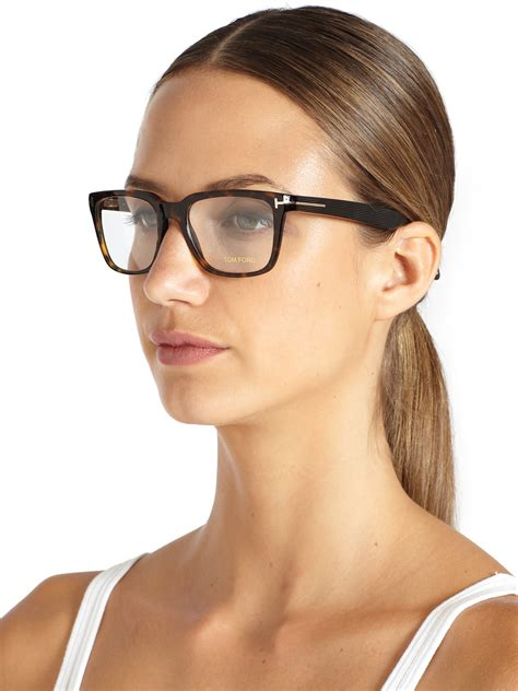 Tomford Optical Black Brown tom ford square optical glasses in brown for lyst