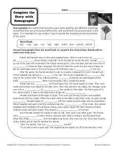 Homograph Worksheet - Complete the Story With Homographs