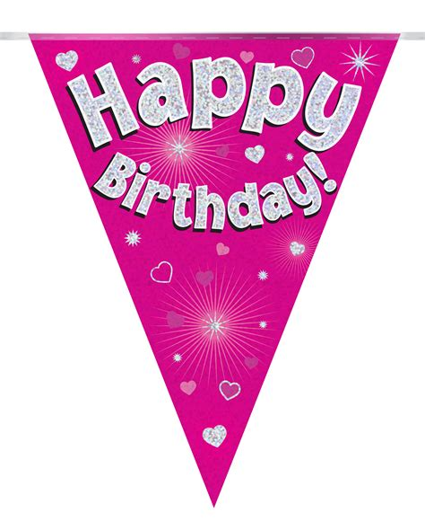 Sale Bunting Flag Happy Birthday Banner Happy Birthday Th7702 bunting happy birthday pink holographic 11 flags 3 9m