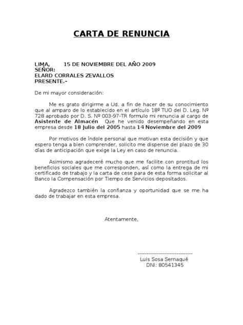 carta de renuncia trabajo ingles modelos de cartas de renuncia laboral design bild