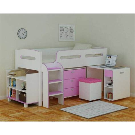 pink futon bunk bed with desk coconut ice kids single loft bed with desk in pink buy