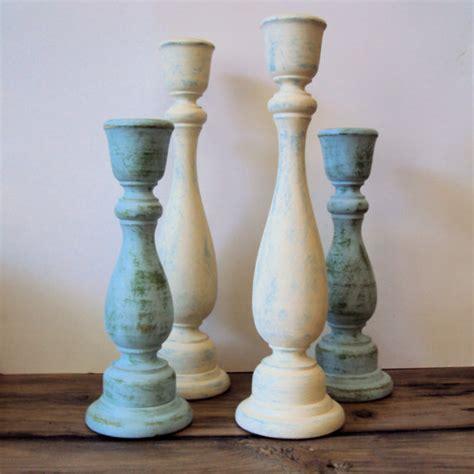 shabby chic candlesticks shabby cottage chic wooden candlesticks rustic chic wood