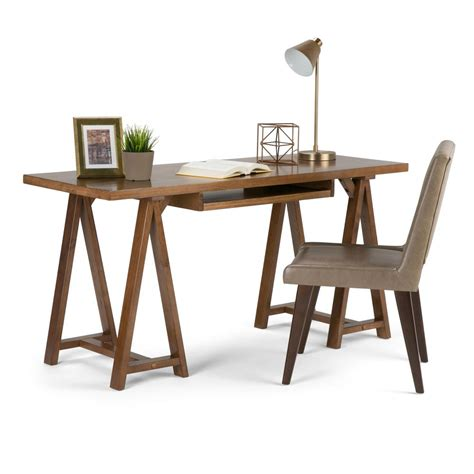 simpli home sawhorse computer desk simpli home sawhorse medium saddle brown desk 3axcsaw 07