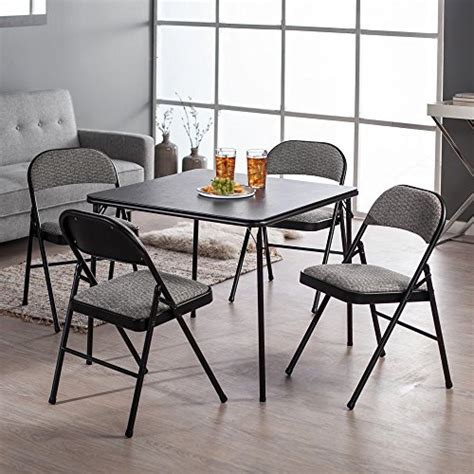 black folding table and chairs set meco 5 folding table and chair set black lace frame