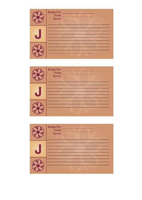 J Card Template Pdf by Top 447 3x5 Recipe Card Templates Free To In Pdf