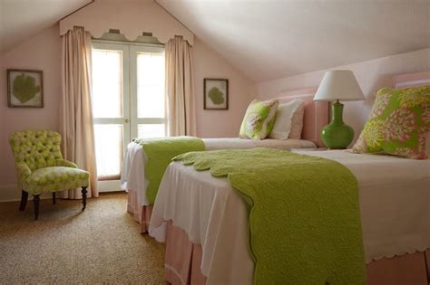 Pink And Green Girl S Bedding Traditional Girl S Room Pink And Green Room