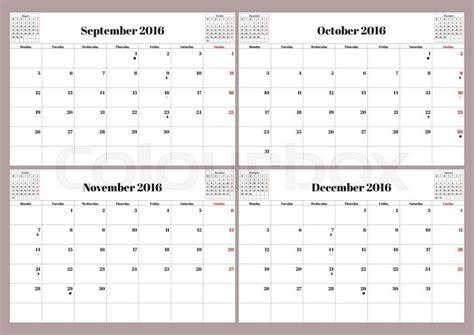 Calendar 2015 September To December Vector Calendar 2016 Year September October