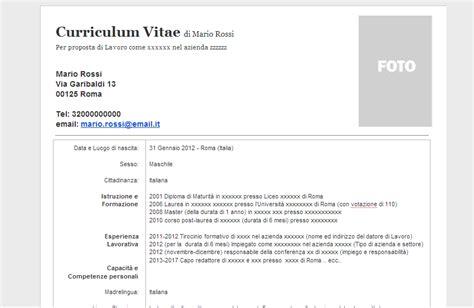 Modelo Cv Europeo Word Español Curriculum Vitae Modello Curriculum Vitae In Formato Word Doc