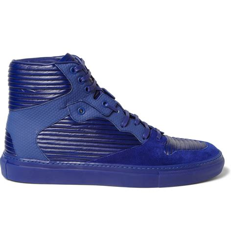 balenciaga blue sneakers balenciaga paneled leather and suede high top sneakers in